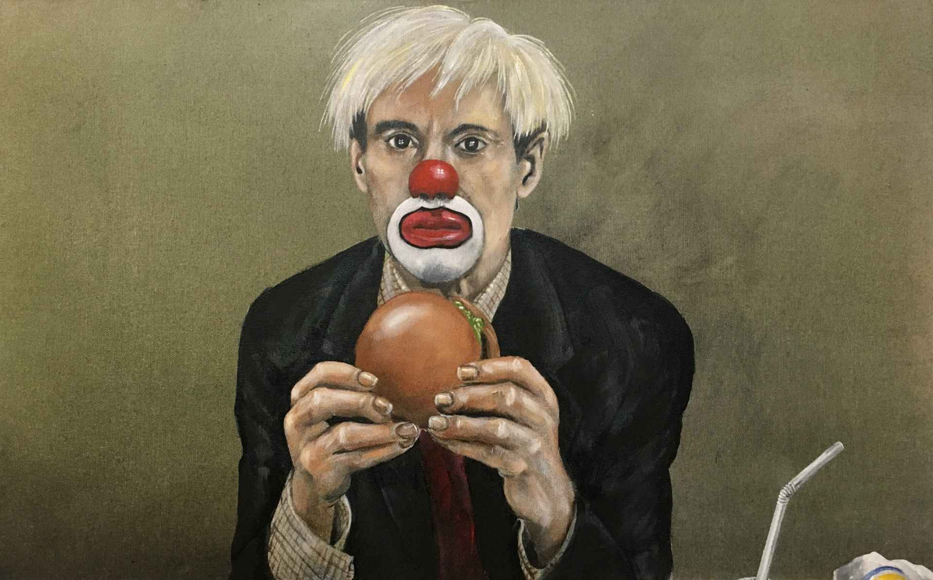 Andy Warhol with burger by Axel Bottenberg