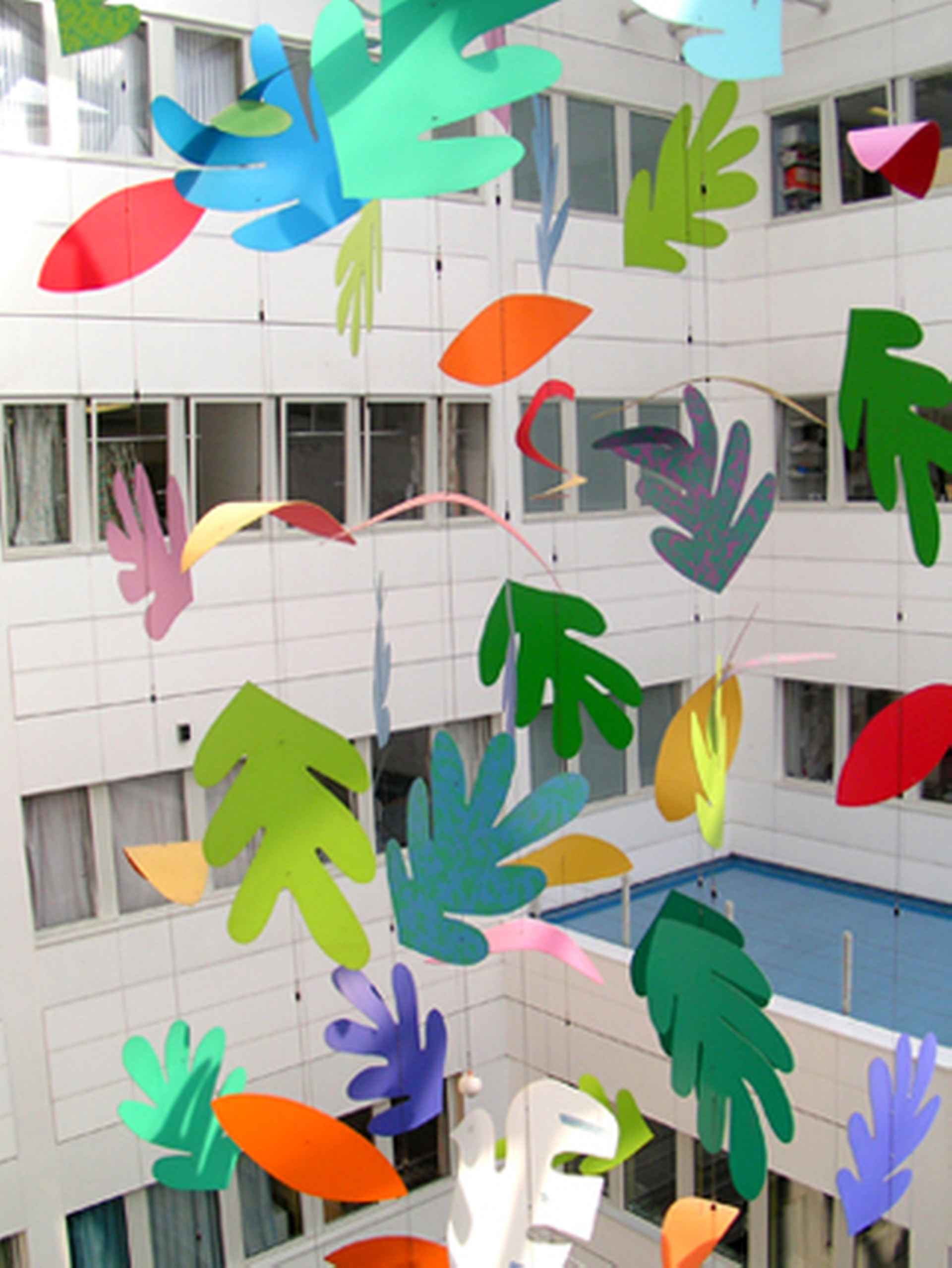 Playful artwork suspended in the central atrium by The Christie, Manchester